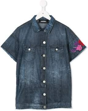 Diesel floral embroidered denim shirt