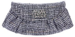 Stuart Weitzman Crystal-Embellished Tweed Clutch