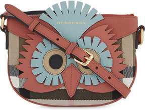 Burberry Owl motif snakeskin-trimmed leather cross-body bag - CINNAMON RED - STYLE