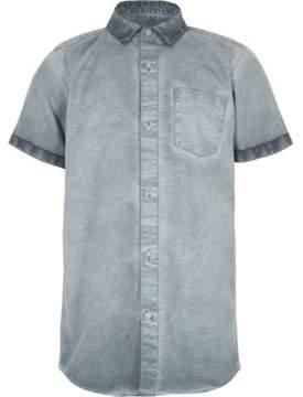 River Island Boys blue oil wash short sleeve shirt