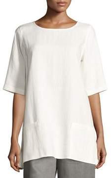 Caroline Rose Half-Sleeve Two-Pocket Linen Tunic, Plus Size