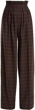 Stella Jean Checked high-rise wide-leg wool-blend trousers