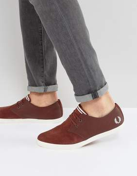 Fred Perry Byron Low Leather Perforated Suede Sneakers in Red