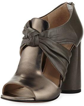 Donald J Pliner Bailey Knot-Front Block-Heel Sandal, Gunmetal