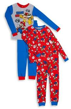 AME Sleepwear Boys and Little Boys Two Pair Mario Character Pajama Set