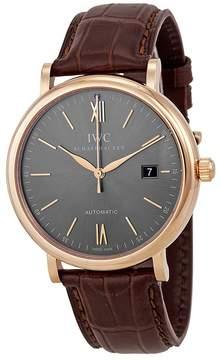IWC Portofino Automatic Grey Dial Brown Leather Men's Watch