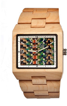 Earth Wood Rhizomes Skateboard-Dial Khaki Bracelet Watch With Date Ethew1205