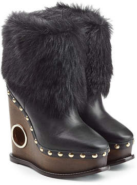 Paloma Barceló Leather Wedge Boots with Fur