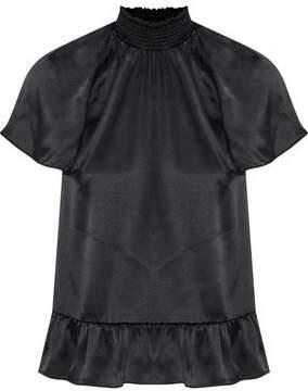 Rachel Zoe Harbor Shirred Silk-Satin Top