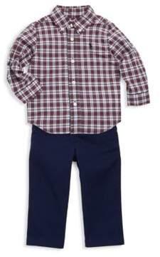 Ralph Lauren Boy's Three-Piece Plaid Shirt, Chino Pants And Belt Set