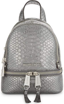 MICHAEL Michael Kors Rhea extra-small crocodile-embossed leather backpack - PEWTER - STYLE