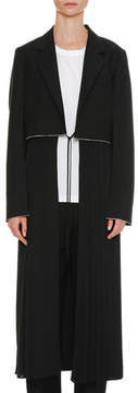 Jil Sander Belted Long Wool-Mohair Coat with Pleated Skirt