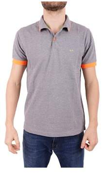 Sun 68 Men's Grey Cotton Polo Shirt.