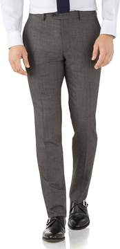 Charles Tyrwhitt Silver Slim Fit Flannel Business Suit Wool Pants Size W38 L34