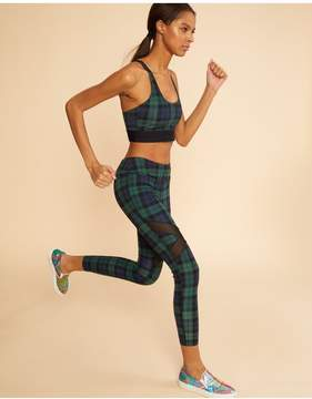 Cynthia Rowley | Plaid Mesh Insert Legging | L | Green