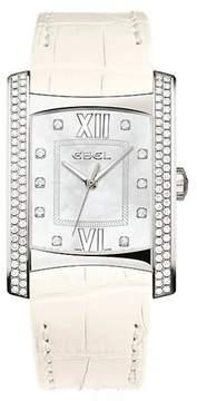 Ebel Brasilia Mother of Pearl Diamond White Leather Ladies Watch