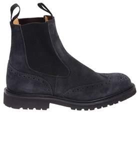 Tricker's Men's Blue Suede Ankle Boots.