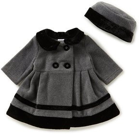 Starting Out Baby Girls 3-24 Months Velvet Trim Coat & Matching Hat Set