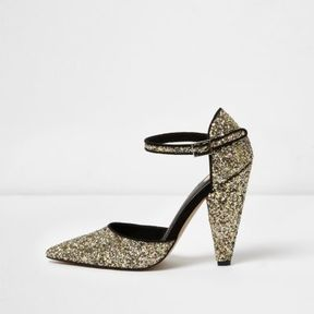 River Island Womens Gold glitter two part cone heel pumps