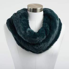 World Market Teal Faux Fur Snood Scarf