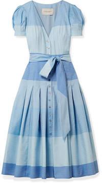 Carolina Herrera Pleated Striped Cotton Midi Dress - Blue