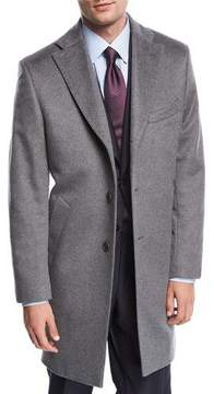 Neiman Marcus Single-Breasted Cashmere Top Coat, Gray