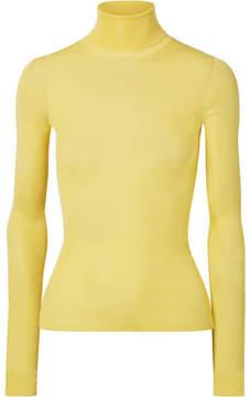 Calvin Klein Ribbed Silk Turtleneck Sweater - Yellow