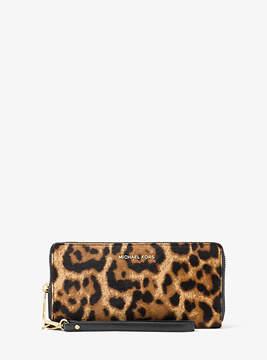 Michael Kors Jet Set Travel Leopard Calf Hair Continental Wristlet - BROWN - STYLE