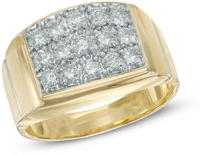Zales Men's 1 CT. T.W. Diamond Square Composite Ring in 10K Gold
