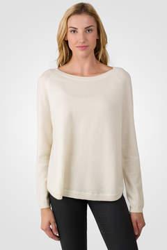 J CASHMERE Cream Cashmere Boatneck Raglan Sweater