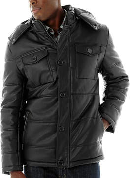 JCPenney Excelled Leather Excelled Channel Quilt Faux-Leather Jacket