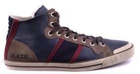 D.A.T.E Men's Blue Leather Hi Top Sneakers.
