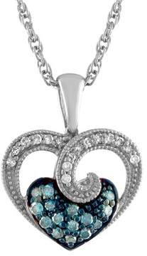 Armani Exchange Jewelry Blue Diamond Heart Necklace in Sterling Silver