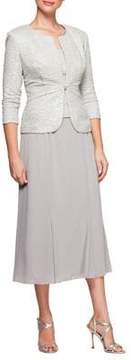 Alex Evenings Petite Two-Piece Tea-Length Dress and Jacket