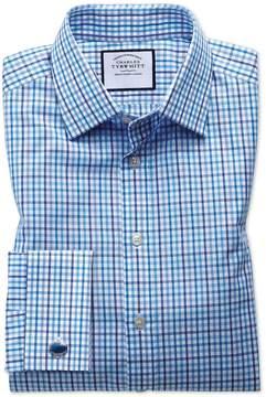 Charles Tyrwhitt Classic Fit Poplin Multi Blue Check Cotton Dress Shirt French Cuff Size 15.5/34