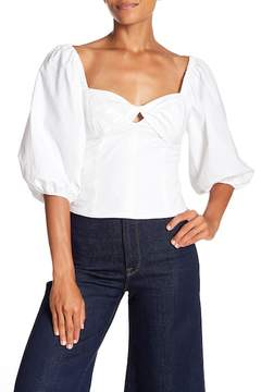 1 STATE 1.State Cropped Knot Neck Puff Sleeve Top