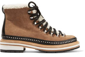 Rag & Bone Compass Shearling And Leather-trimmed Suede Ankle Boots - Tan
