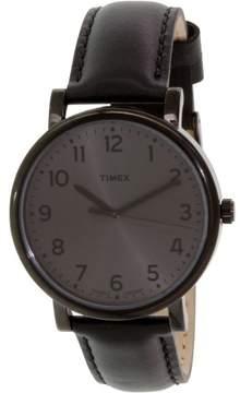 Timex Men's Easy Reader T2N346 Black Leather Quartz Fashion Watch