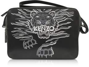 Kenzo Black Leather Large Geo Tiger Crossbody Bag