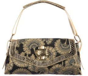 Just Cavalli Embossed Leather-Trimmed Handle Bag