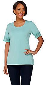 Denim & Co. Scoop Neck Short Sleeve Topw/ Crochet Trim