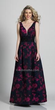 Dave and Johnny Floral Printed Open Back Applique Embellished Evening Dress