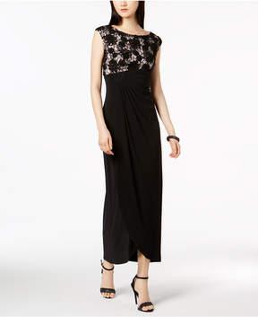Connected Soutache Lace Draped Faux-Wrap Gown
