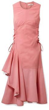 DAY Birger et Mikkelsen ADEAM - Asymmetric Lace-up Wool-blend Midi Dress - Baby pink