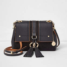 River Island Black double ring tassel crossbody bag