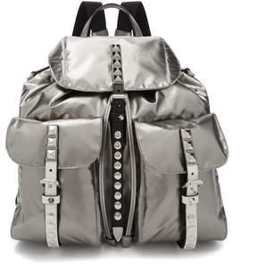 Prada Vela Laminated Nylon Backpack - Womens - Silver