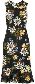 Erdem Grazia Floral-print Stretch-ponte Dress - Black
