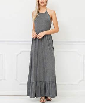 Bellino Charcoal Halter Maxi Dress - Women