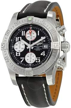 Breitling Avenger II Automatic Chronograph Black Dial Black Leather Men's Watch A1338111-BC33BKLD