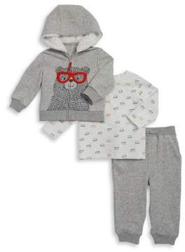 Little Me Baby Boy's Three-Piece Bear Hoodie, Top and Jogger Pants Set